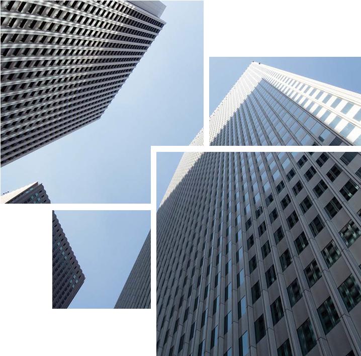 Exterior shots of skyscrapers
